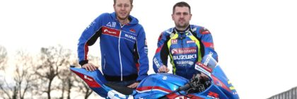 PACEMAKER, BELFAST, 20/2/2017: Hawk Racing boss Steve Hicken and Michael Dunlop with the Bennetts Suzuki GSXR superbike at Mallory Park that Dunlop will race on the roads in 2017. PICTURE BY STEPHEN DAVISON